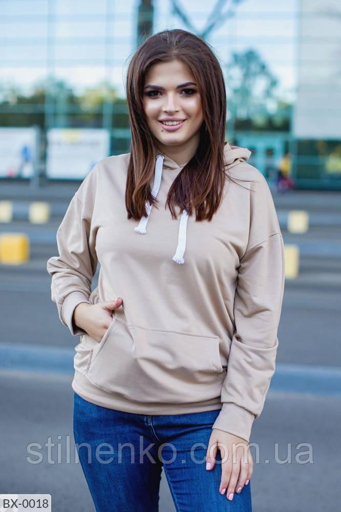 Свитшот женский с большими карманами и капюшоном