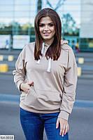 Свитшот женский с большими карманами и капюшоном, фото 1