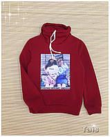 Свишот нарядный теплый с начесом и модным воротником хомут для девочки подростка код 0089 (р.140-152)