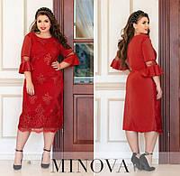 Женское нарядное платье из пайетки-люрекс №745Б(р.50-60) красный