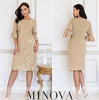Женское нарядное платье из пайетки-люрекс №745Б(р.50-60) бежевый, фото 1