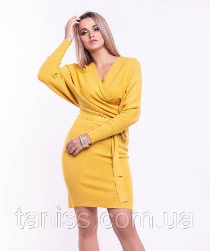 Женское платье теплое, р-р 42-48 уни, кашемировый трикотаж, Желтый (9060) сукня жіноча тепла