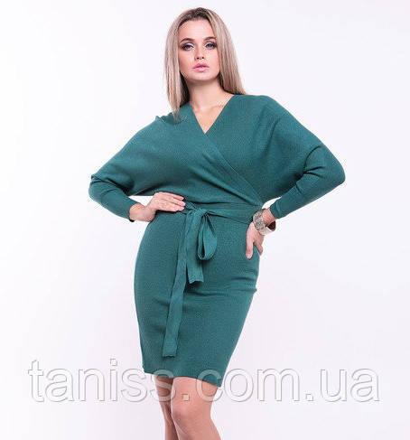 Женское платье теплое, р-р 42-48 уни, кашемировый трикотаж, Зеленый (9060) сукня жіноча тепла