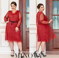 Женское нарядное платье №740Б(р.50-64) красный, фото 1