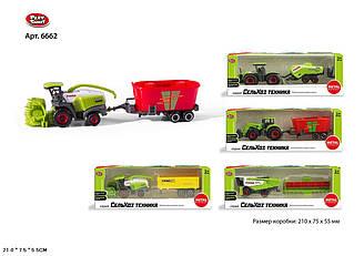 Модель Трактор/Комбайн дитячий PLAY SMART 6662 (216шт/2) з причепом метал. 4 види, в кор. 21*5,5*7,5 см
