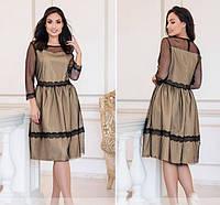 Женское нарядное платье №203Б(р.50-60) бежевый, фото 1