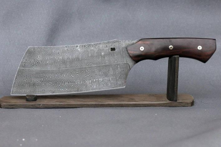 Кухонный топорик, секач ручной работы из дамасской стали, фото 2