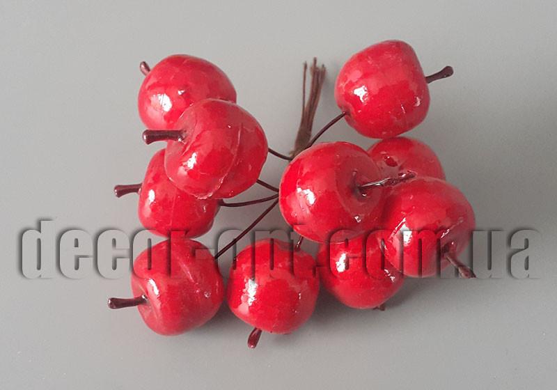Яблоки красные на проволоке 2,5см/10шт