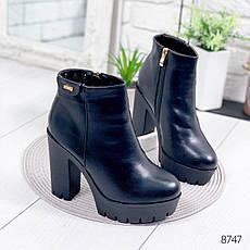 """Ботильоны женские зимние """"Woow"""" черного цвета из эко кожи. Ботинки женские. Ботильоны зима, фото 3"""