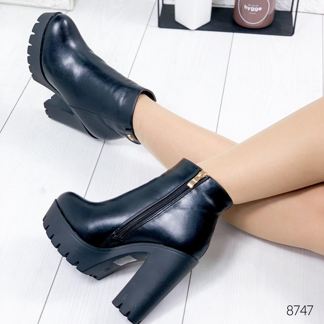 """Ботильоны женские зимние """"Woow"""" черного цвета из эко кожи. Ботинки женские. Ботильоны зима"""