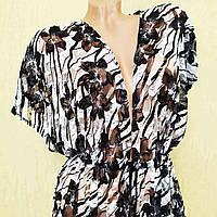 Гипюровый халатик-туника, 58 размер, черно белый