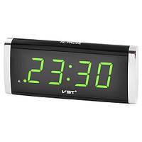 Часы сетевые 730-2 зеленые, 220V