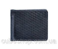 Зажим для денег кожаный 1.0 Карбон (синий)