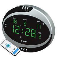 Часы электронные сетевые 770 Т-4 салатовые, пульт Д/У