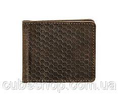 Зажим для денег кожаный 1.0 Карбон (темно-коричневый)
