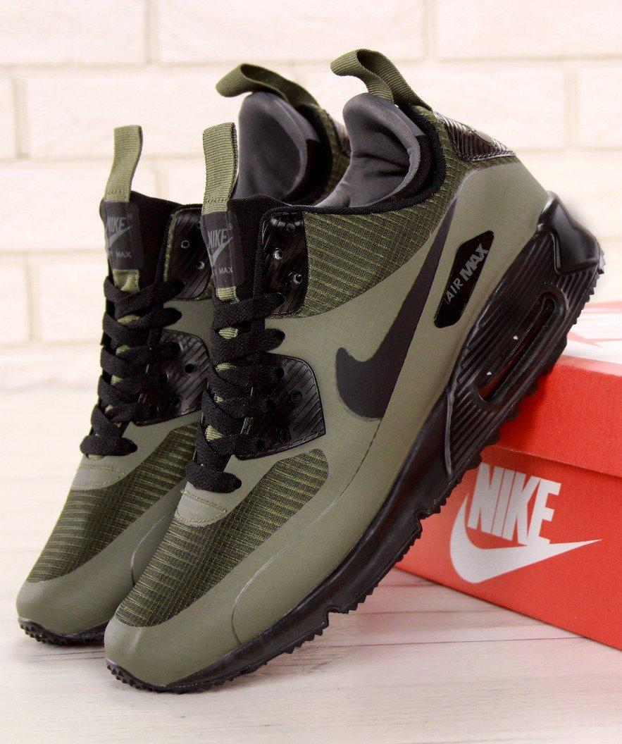 Кроссовки Мужские Зимние Nike Air Max 90 Mid Winter, найк аир макс 90 хаки