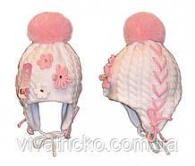 Шапка для девочки с бубоном, зимняя на завязках 3-7 лет м 9155, разные цвета