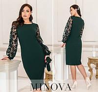 Женское нарядное платье №17690-1 (р.50-62) темно-зеленый, фото 1