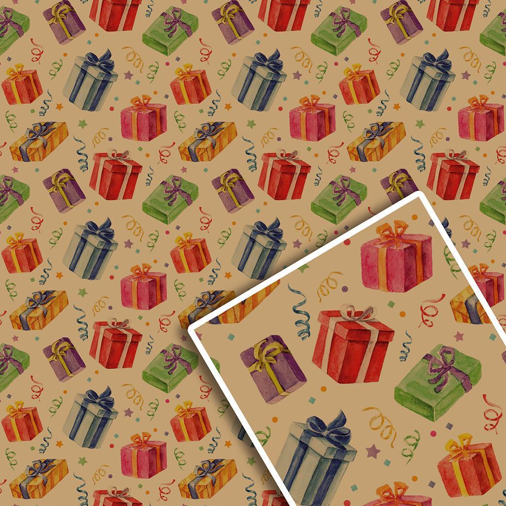 Новогодняя подарочная упаковочная крафт бумага №УП-532К