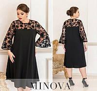 Женское нарядное платье №4125Б-1 (р.50-64) черный, фото 1