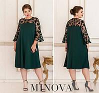 Женское нарядное платье №4125Б-1 (р.50-64) темно-зеленый, фото 1