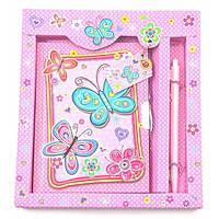 """Блокнот с замком для девочек """"Бабочки"""" розовый (2 ключа)"""