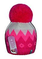 Шапка для девочки зимняя с бубоном узор м 9159, разные цвета