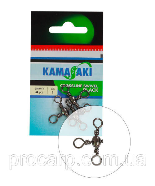 Вертлюг тройной Energofish Kamasaki Crossline Swivel Black № 8 8 шт (82260008)