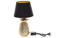 Лампа настольная Ананас с керамическим основанием и тканевым абажуром с золотым покрытием внутри, цвет - золотой+графит BonaDi 437-272