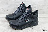 Мужские кожаные зимние ботинки/кроссовки Fila (Реплика) (Код: F 5 чер  ) ►Размеры [40,41,42,43,44,45], фото 1