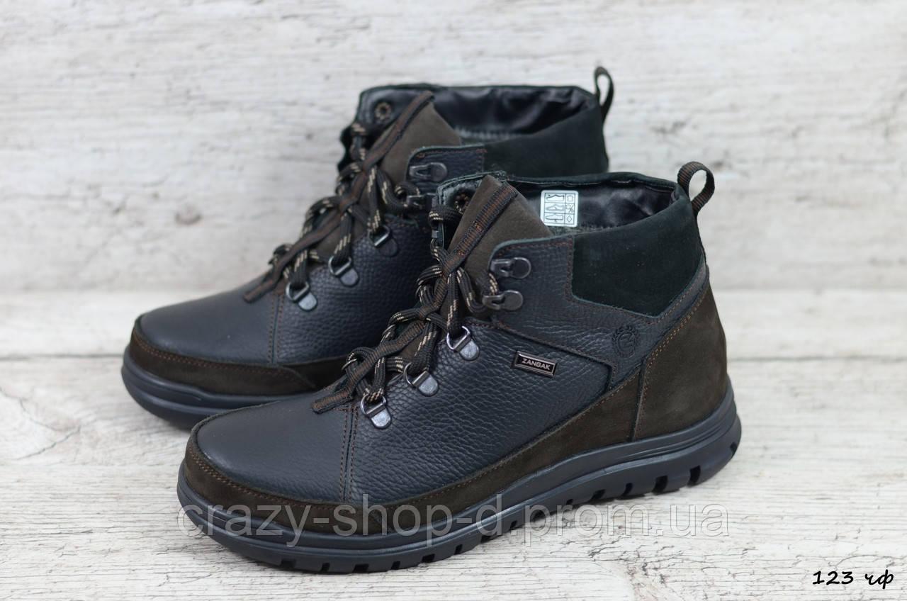 Мужские кожаные зимние ботинки Zangak (Реплика) (Код: 123 чф  ) ►Размеры [40,41,42,43,44,45]