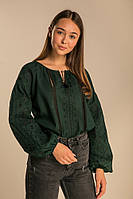 Женская вышитая блузка с вышивкою гладью темно-зеленая