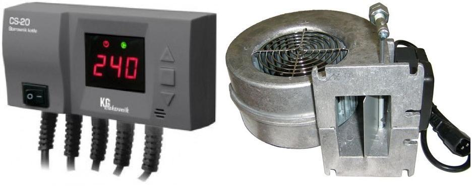 Блок управления KG ELEKTRONIK CS-20 + вентилятор WPA-120 для твердотопливных котлов