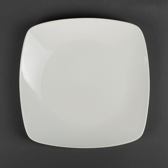Тарелка белая квадратная 22*22 см (фарфор)