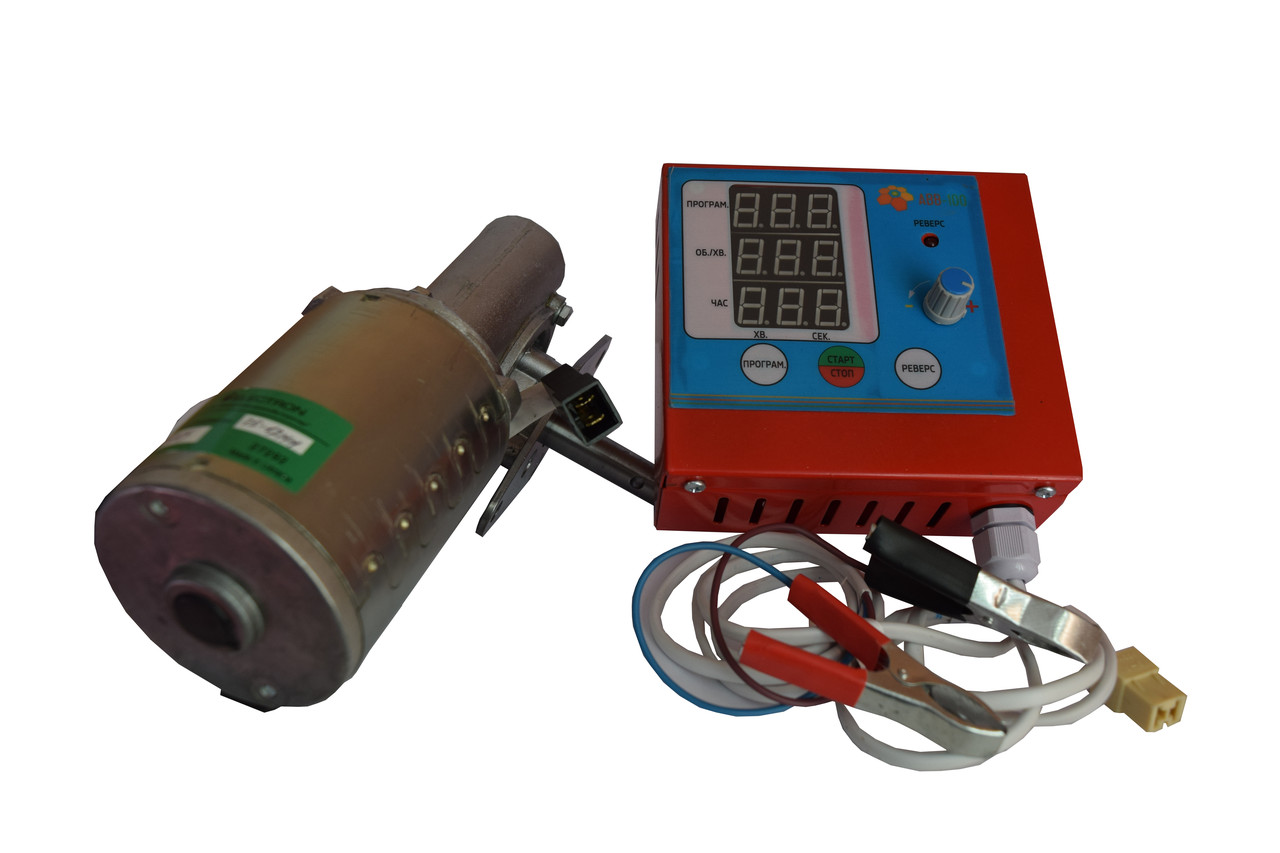 Привод к медогонке электрический, червячный с алюминиевым корпусом 12В. Модель 2 - сенсорным блоком управления