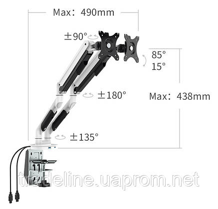 Кронштейн для монитора Xiaomi Loctek Display Bracket Pneumatic Double, фото 2