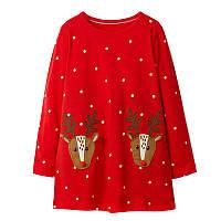 Платье для девочки Праздничные олени Jumping Meters (7 лет)