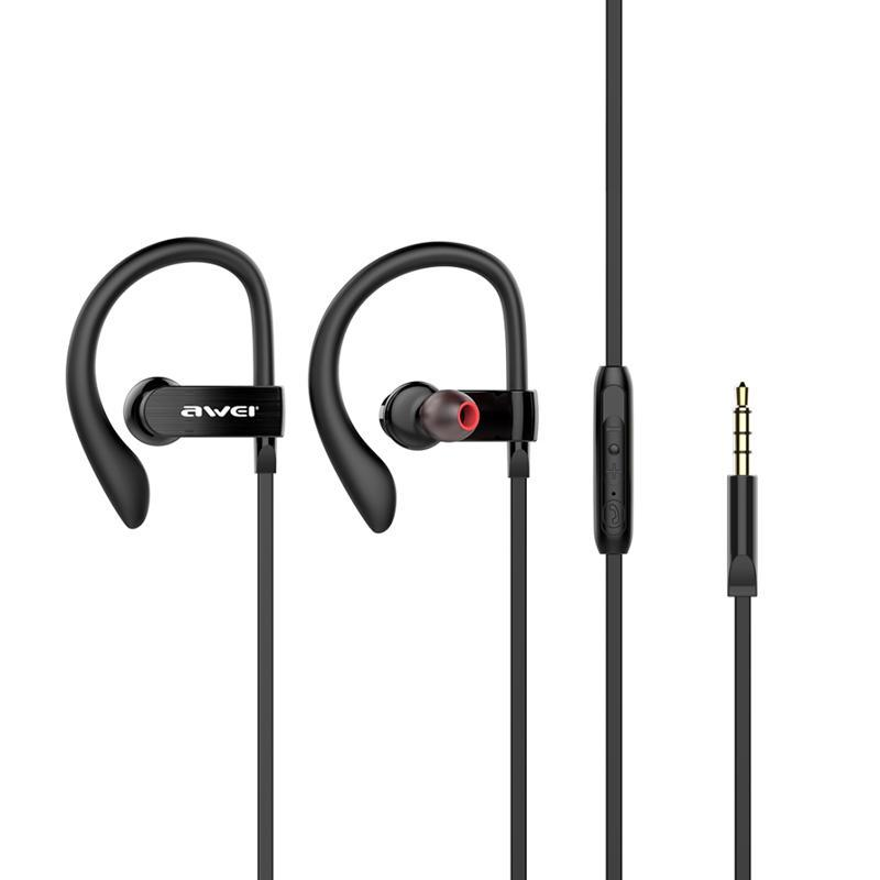 HF MP3 AWEI ES160i Black + mic + button call answering + volume control