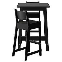 Барный стол и 2 барных стула IKEA NORRÅKER Черный (792.419.40)