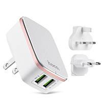 Сетевое зарядное устройство HOCO C4 Dual USB 3 in 1 White (1263)