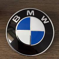 """Эмблема """"BMW""""  80мм (большая)\пластик\2 пукли (Оригинал качество)"""