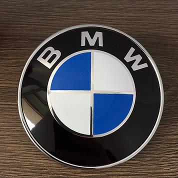 """Эмблема """"BMW""""  70мм (малая)\пластик\2 пукли (Оригинал качество)"""