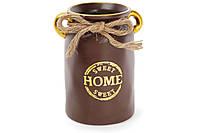 """Ваза керамическая """"Home sweet home"""" 19см, цвет - шоколад с золотом BonaDi 733-180"""