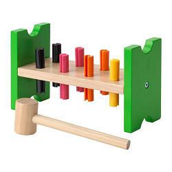 ИКЕА (IKEA) МУЛА, 702.948.91, Блок с колышками и молотком, разноцветный - ТОП ПРОДАЖ
