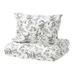 ИКЕА (IKEA) ALVINE KVIST, 101.596.31, Комплект постельного белья, белый, серый, 200x200/50x60 см - ТОП ПРОДАЖ