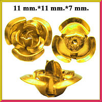 Набор Пайетки Розы Объемные Золотистые 20 штук Диаметр 11 мм для Рукоделия