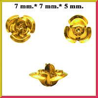 Набор Пайетки Розы Объемные Золотистые 20 штук Диаметр 7 мм для Рукоделия