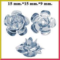 Набор Пайетки Розы Объемные Серебристые 20 штук Диаметр 15 мм для Рукоделия