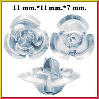 Набор Пайетки Розы Объемные Серебряного Цвета 20 штук Диаметр 11 мм для Рукоделия