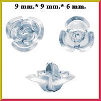 Набор Пайетки Розы Объемные 20 штук Серебристого Цвета Диаметр 9 мм для Рукоделия